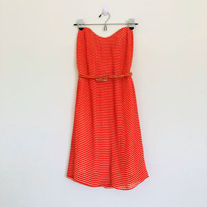 French Connection Orange Striped Strapless Dress